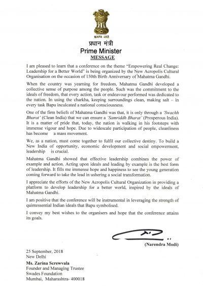 Επιστολή Ινδού Πρωθυπουργού – Αφιέρωμα στον Γκάντι